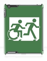 Accessible Exit Sign Project Wheelchair Wheelie Running Man Symbol Means of Egress Icon Disability Emergency Evacuation Fire Safety iPad Case 10