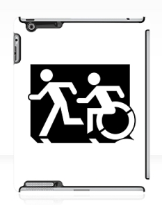 Accessible Exit Sign Project Wheelchair Wheelie Running Man Symbol Means of Egress Icon Disability Emergency Evacuation Fire Safety iPad Case 102