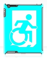 Accessible Exit Sign Project Wheelchair Wheelie Running Man Symbol Means of Egress Icon Disability Emergency Evacuation Fire Safety iPad Case 103