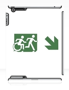 Accessible Exit Sign Project Wheelchair Wheelie Running Man Symbol Means of Egress Icon Disability Emergency Evacuation Fire Safety iPad Case 104