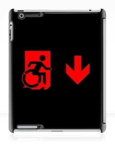 Accessible Exit Sign Project Wheelchair Wheelie Running Man Symbol Means of Egress Icon Disability Emergency Evacuation Fire Safety iPad Case 107