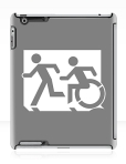 Accessible Exit Sign Project Wheelchair Wheelie Running Man Symbol Means of Egress Icon Disability Emergency Evacuation Fire Safety iPad Case 109