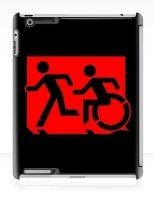 Accessible Exit Sign Project Wheelchair Wheelie Running Man Symbol Means of Egress Icon Disability Emergency Evacuation Fire Safety iPad Case 111