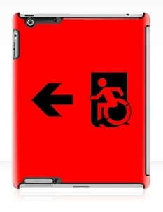 Accessible Exit Sign Project Wheelchair Wheelie Running Man Symbol Means of Egress Icon Disability Emergency Evacuation Fire Safety iPad Case 11