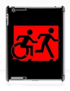 Accessible Exit Sign Project Wheelchair Wheelie Running Man Symbol Means of Egress Icon Disability Emergency Evacuation Fire Safety iPad Case 117