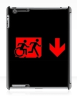 Accessible Exit Sign Project Wheelchair Wheelie Running Man Symbol Means of Egress Icon Disability Emergency Evacuation Fire Safety iPad Case 118