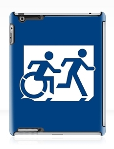Accessible Exit Sign Project Wheelchair Wheelie Running Man Symbol Means of Egress Icon Disability Emergency Evacuation Fire Safety iPad Case 121