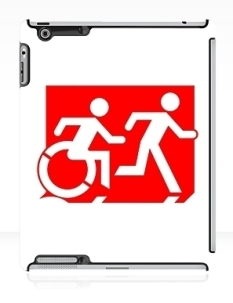 Accessible Exit Sign Project Wheelchair Wheelie Running Man Symbol Means of Egress Icon Disability Emergency Evacuation Fire Safety iPad Case 131