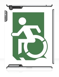 Accessible Exit Sign Project Wheelchair Wheelie Running Man Symbol Means of Egress Icon Disability Emergency Evacuation Fire Safety iPad Case 132