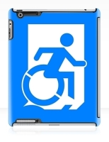 Accessible Exit Sign Project Wheelchair Wheelie Running Man Symbol Means of Egress Icon Disability Emergency Evacuation Fire Safety iPad Case 142