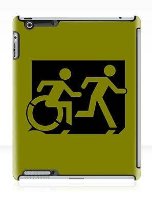 Accessible Exit Sign Project Wheelchair Wheelie Running Man Symbol Means of Egress Icon Disability Emergency Evacuation Fire Safety iPad Case 15