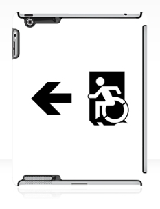 Accessible Exit Sign Project Wheelchair Wheelie Running Man Symbol Means of Egress Icon Disability Emergency Evacuation Fire Safety iPad Case 158