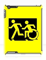 Accessible Exit Sign Project Wheelchair Wheelie Running Man Symbol Means of Egress Icon Disability Emergency Evacuation Fire Safety iPad Case 159