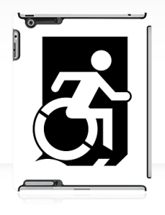 Accessible Exit Sign Project Wheelchair Wheelie Running Man Symbol Means of Egress Icon Disability Emergency Evacuation Fire Safety iPad Case 16
