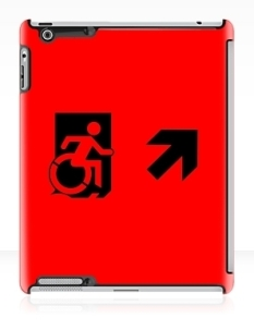 Accessible Exit Sign Project Wheelchair Wheelie Running Man Symbol Means of Egress Icon Disability Emergency Evacuation Fire Safety iPad Case 165