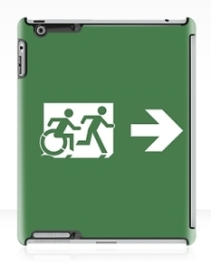 Accessible Exit Sign Project Wheelchair Wheelie Running Man Symbol Means of Egress Icon Disability Emergency Evacuation Fire Safety iPad Case 17