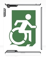 Accessible Exit Sign Project Wheelchair Wheelie Running Man Symbol Means of Egress Icon Disability Emergency Evacuation Fire Safety iPad Case 20