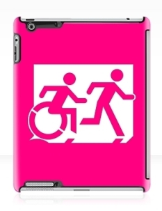 Accessible Exit Sign Project Wheelchair Wheelie Running Man Symbol Means of Egress Icon Disability Emergency Evacuation Fire Safety iPad Case 21