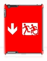 Accessible Exit Sign Project Wheelchair Wheelie Running Man Symbol Means of Egress Icon Disability Emergency Evacuation Fire Safety iPad Case 22
