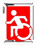 Accessible Exit Sign Project Wheelchair Wheelie Running Man Symbol Means of Egress Icon Disability Emergency Evacuation Fire Safety iPad Case 24