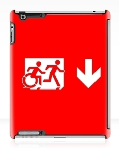 Accessible Exit Sign Project Wheelchair Wheelie Running Man Symbol Means of Egress Icon Disability Emergency Evacuation Fire Safety iPad Case 28