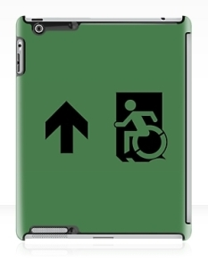 Accessible Exit Sign Project Wheelchair Wheelie Running Man Symbol Means of Egress Icon Disability Emergency Evacuation Fire Safety iPad Case 31