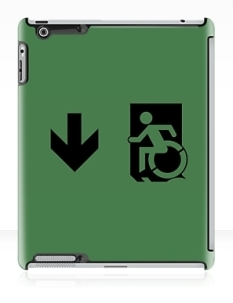 Accessible Exit Sign Project Wheelchair Wheelie Running Man Symbol Means of Egress Icon Disability Emergency Evacuation Fire Safety iPad Case 35