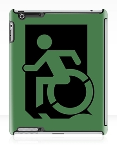 Accessible Exit Sign Project Wheelchair Wheelie Running Man Symbol Means of Egress Icon Disability Emergency Evacuation Fire Safety iPad Case 36