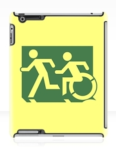 Accessible Exit Sign Project Wheelchair Wheelie Running Man Symbol Means of Egress Icon Disability Emergency Evacuation Fire Safety iPad Case 41