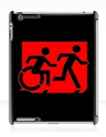 Accessible Exit Sign Project Wheelchair Wheelie Running Man Symbol Means of Egress Icon Disability Emergency Evacuation Fire Safety iPad Case 43