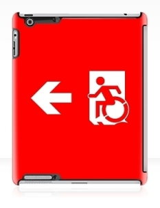 Accessible Exit Sign Project Wheelchair Wheelie Running Man Symbol Means of Egress Icon Disability Emergency Evacuation Fire Safety iPad Case 52