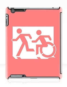 Accessible Exit Sign Project Wheelchair Wheelie Running Man Symbol Means of Egress Icon Disability Emergency Evacuation Fire Safety iPad Case 53