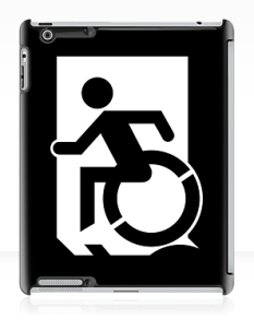 Accessible Exit Sign Project Wheelchair Wheelie Running Man Symbol Means of Egress Icon Disability Emergency Evacuation Fire Safety iPad Case 58