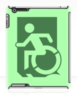 Accessible Exit Sign Project Wheelchair Wheelie Running Man Symbol Means of Egress Icon Disability Emergency Evacuation Fire Safety iPad Case 62