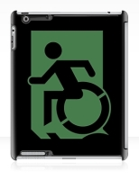 Accessible Exit Sign Project Wheelchair Wheelie Running Man Symbol Means of Egress Icon Disability Emergency Evacuation Fire Safety iPad Case 64