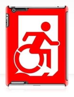 Accessible Exit Sign Project Wheelchair Wheelie Running Man Symbol Means of Egress Icon Disability Emergency Evacuation Fire Safety iPad Case 65