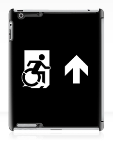 Accessible Exit Sign Project Wheelchair Wheelie Running Man Symbol Means of Egress Icon Disability Emergency Evacuation Fire Safety iPad Case 67