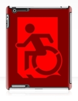 Accessible Exit Sign Project Wheelchair Wheelie Running Man Symbol Means of Egress Icon Disability Emergency Evacuation Fire Safety iPad Case 70