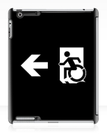 Accessible Exit Sign Project Wheelchair Wheelie Running Man Symbol Means of Egress Icon Disability Emergency Evacuation Fire Safety iPad Case 80