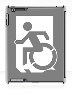 Accessible Exit Sign Project Wheelchair Wheelie Running Man Symbol Means of Egress Icon Disability Emergency Evacuation Fire Safety iPad Case 90