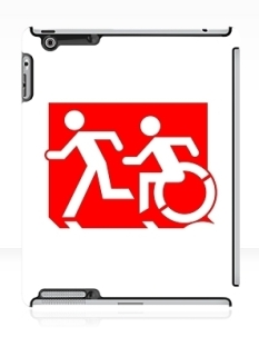 Accessible Exit Sign Project Wheelchair Wheelie Running Man Symbol Means of Egress Icon Disability Emergency Evacuation Fire Safety iPad Case 94