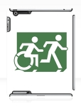Accessible Exit Sign Project Wheelchair Wheelie Running Man Symbol Means of Egress Icon Disability Emergency Evacuation Fire Safety iPad Case 96