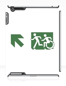 Accessible Exit Sign Project Wheelchair Wheelie Running Man Symbol Means of Egress Icon Disability Emergency Evacuation Fire Safety iPad Case 97