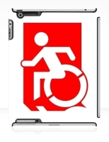 Accessible Exit Sign Project Wheelchair Wheelie Running Man Symbol Means of Egress Icon Disability Emergency Evacuation Fire Safety iPad Case 99