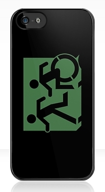 Accessible Exit Sign Project Wheelchair Wheelie Running Man Symbol Means of Egress Icon Disability Emergency Evacuation Fire Safety iPhone Case 1