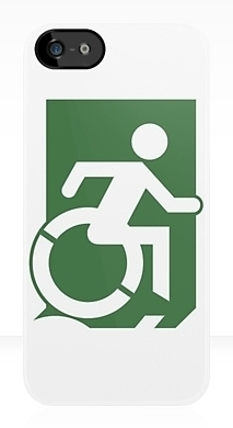Accessible Exit Sign Project Wheelchair Wheelie Running Man Symbol Means of Egress Icon Disability Emergency Evacuation Fire Safety iPhone Case 101