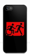 Accessible Exit Sign Project Wheelchair Wheelie Running Man Symbol Means of Egress Icon Disability Emergency Evacuation Fire Safety iPhone Case 103