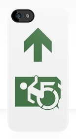 Accessible Exit Sign Project Wheelchair Wheelie Running Man Symbol Means of Egress Icon Disability Emergency Evacuation Fire Safety iPhone Case 105
