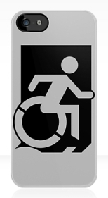 Accessible Exit Sign Project Wheelchair Wheelie Running Man Symbol Means of Egress Icon Disability Emergency Evacuation Fire Safety iPhone Case 106