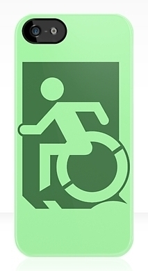 Accessible Exit Sign Project Wheelchair Wheelie Running Man Symbol Means of Egress Icon Disability Emergency Evacuation Fire Safety iPhone Case 108